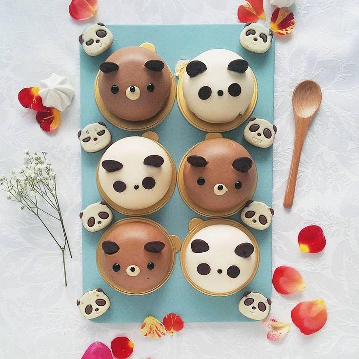 White chocolate panda and nutella dark choc bear mousse cakes by Anna Chan (@annachaannn)