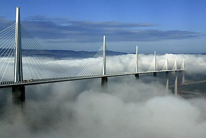 Taller than the Eiffel tower, the Millau Viaduct stands at 1,125ft (343m) making it the tallest bridge in the world. This architectural wonder took a short three years to build.