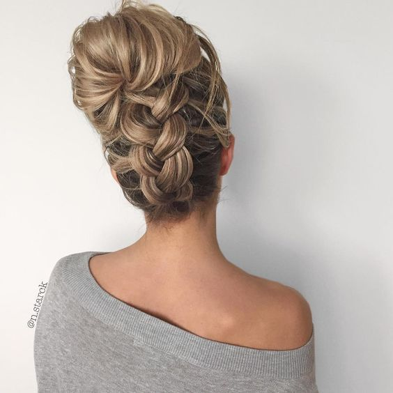 upside down chunky braid into a messy bun / http://www.himisspuff.com/beautiful-wedding-updo-hairstyles/15/