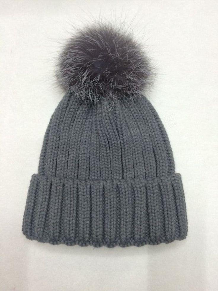 Women Girl Crochet Knitting Thick Caps Beret Ski Slouch Beanie Faux Fur Ball Hat at Banggood