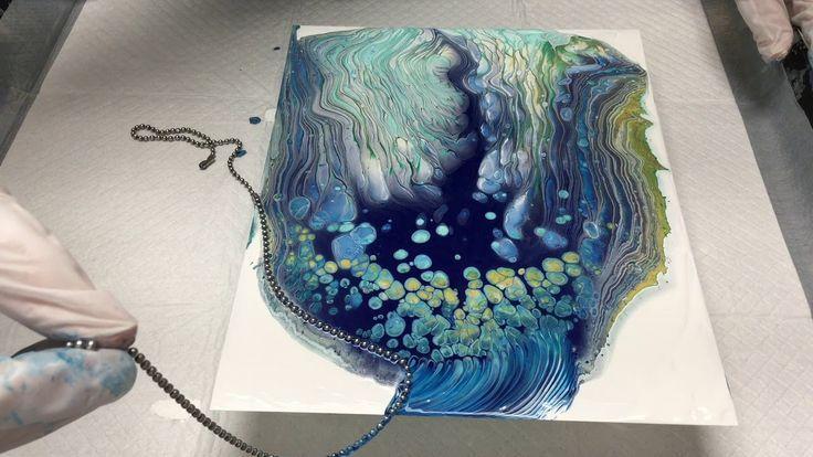 Chain hoist pour painting – acrylic casting – YouTube