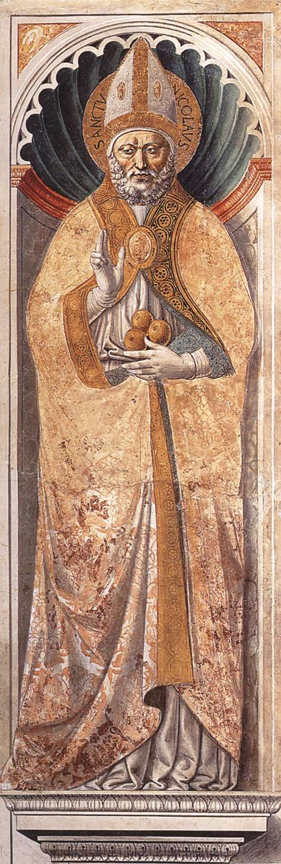 St Nicholas of Bari (on the pillar). 1464-65 Fresco Apsidal chapel, Sant'Agostino, San Gimignano.
