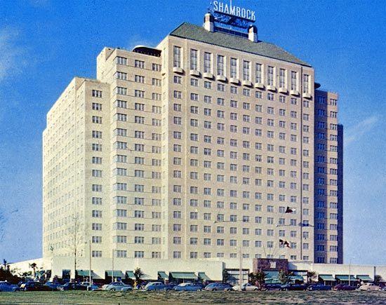 Shamrock Hotel façade, 1949
