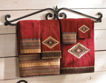 Western bedding towels and bath accessories on pinterest for Southwestern towel bars