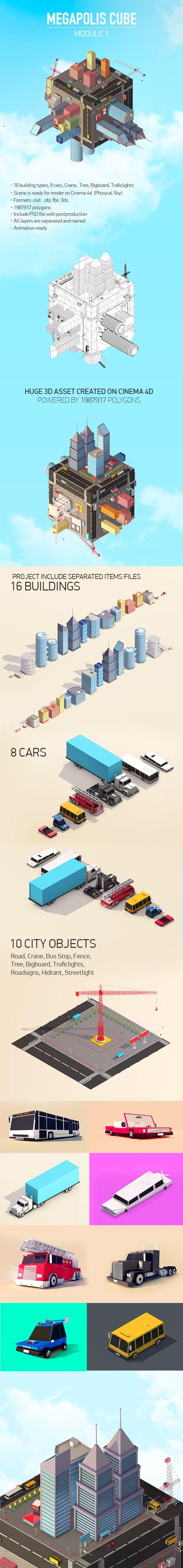 Low Poly Megapolis Cube Module 1 3D Models Design Template #cinema4d #3D #3dDesign Download here: https://3docean.net/item/megapolis-cube-module-1/15924594?ref=yinkira