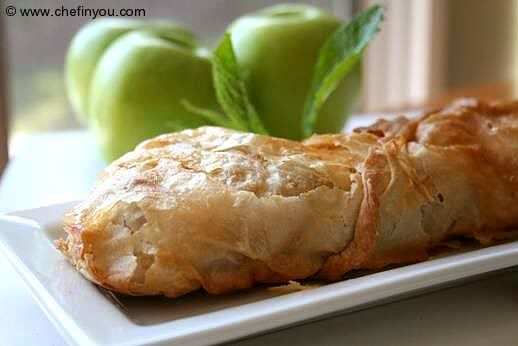 Traditional Austrian apple strudel, with homemade phyllo ...