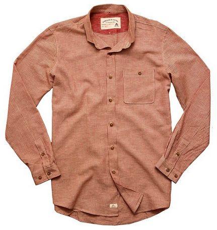 Rödrandig skjorta av bomull och linne