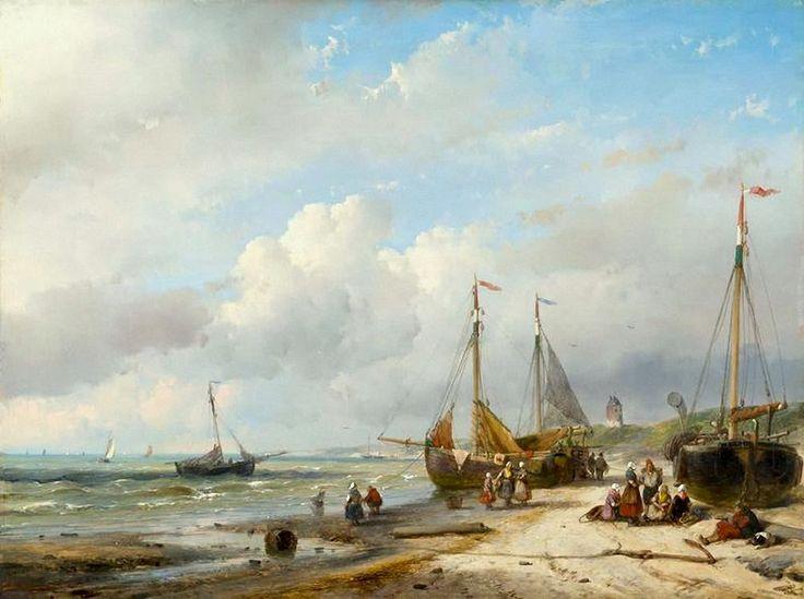 Andreas 'Andries' Schelfhout (1787-1870) Figuren en vissersboten op het strand. Drie bomschuiten liggen ten zuiden van Scheveningen op het strand. Mannen en vrouwen staan en zitten te wachten op de vis. In de verte staat de vuurbaak op het duin.