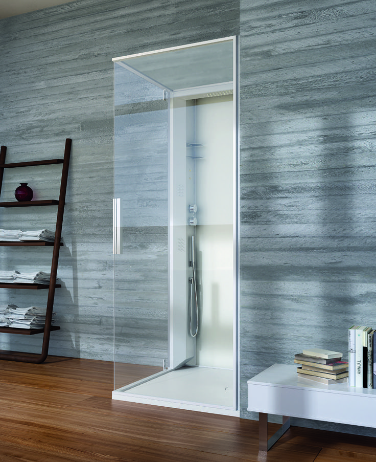 Modern 2013 Bathroom Design Trends: Danelon Meroni Grey And Wood Bathroom With Ladder Accessorizing ~ Bathroom Inspiration