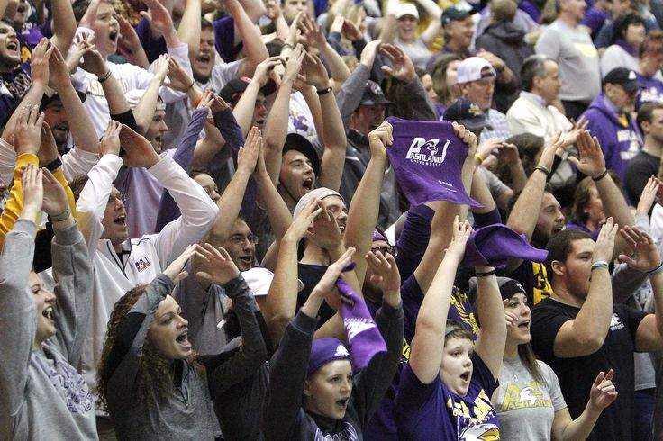 """Ashland University fans do the """"A-U"""" cheer against Harding University during college women's basketball action Wednesday, March 23, 2017 in their semifinal game at Alumni Hall on the campus of Ohio Dominican University.  The Eagles defeated the Harding Bisons 90-77, advancing NCAA Division II championship game against Virginia Union Friday, March 25."""
