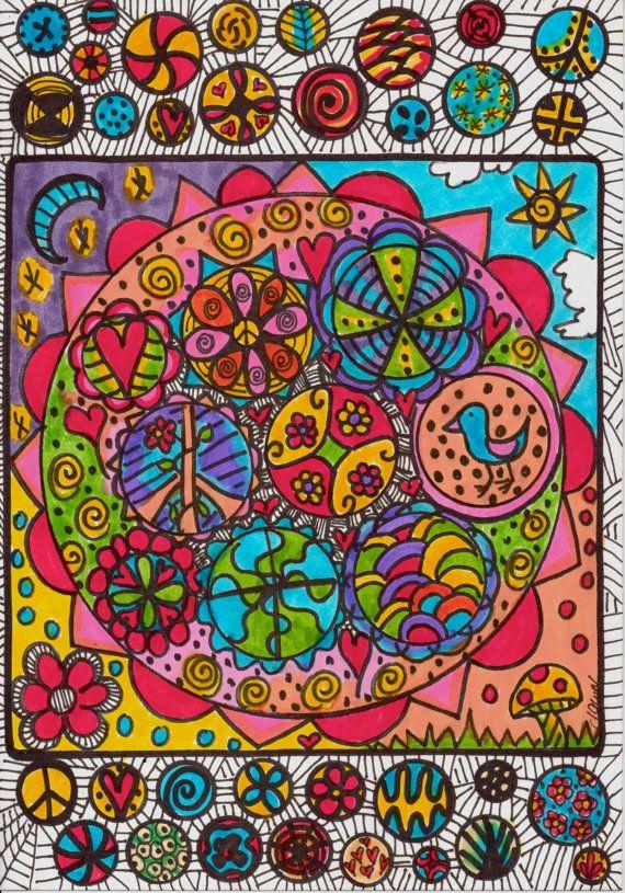 Kaleidoscope Mandala Original Hippie Art by DawnCollinsArt on Etsy, $25.00
