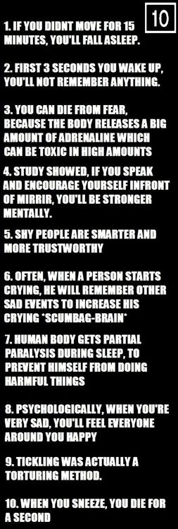 10 Awesome Psychological Facts You Should Know - number one isn't true... I know that for a fact.
