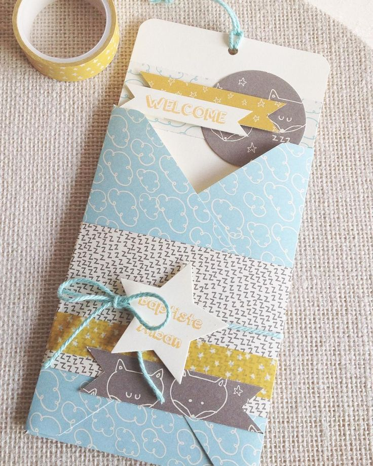 Beautiful DIY baptism greeting card made out of scrapbook paper and washi tape.