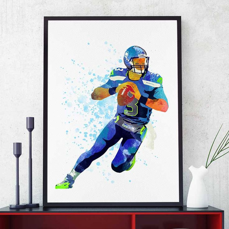 Russell Wilson Poster, Seattle Seahawks Poster, Russell Wilson Print, Seattle Seahawks Print, Football Wall Art Decor, Football Gifts (N037) by PointDot on Etsy