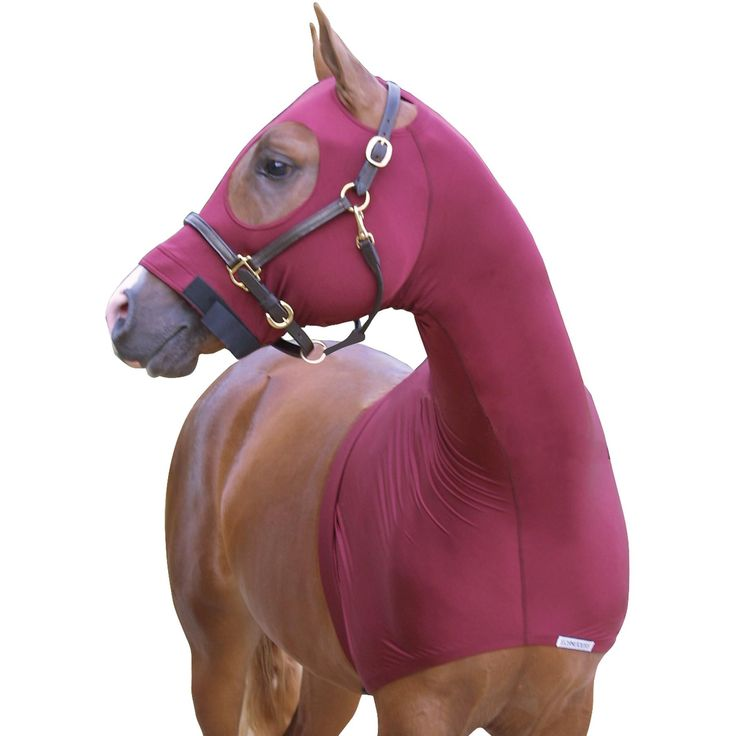 We love our UltraFlex® Pull On Slicker Hood! This heavier weight 8 oz. lycra pull on sleezy is perfect for those summer nights! Protect your horse's bands and braids and keep him clean and warm. Newly designed extra-large no-rub, no-slip eye holes prevent rubbing and discomfort. Attach sleezy with the adjustable elastic girth. Available in Small (64-70), Medium (70-74), Large (76-80), X-Large (80-86).