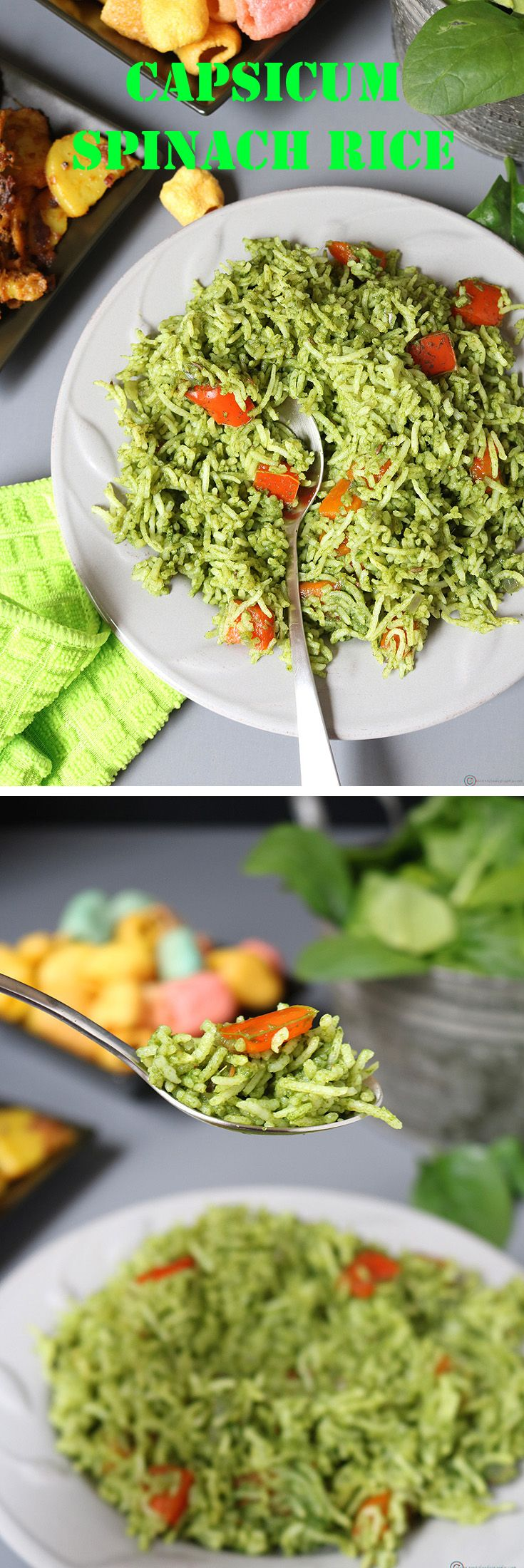A quick, easy and healthy Capsicum Palak (Spinach) Rice, perfect to pack for your lunchbox.