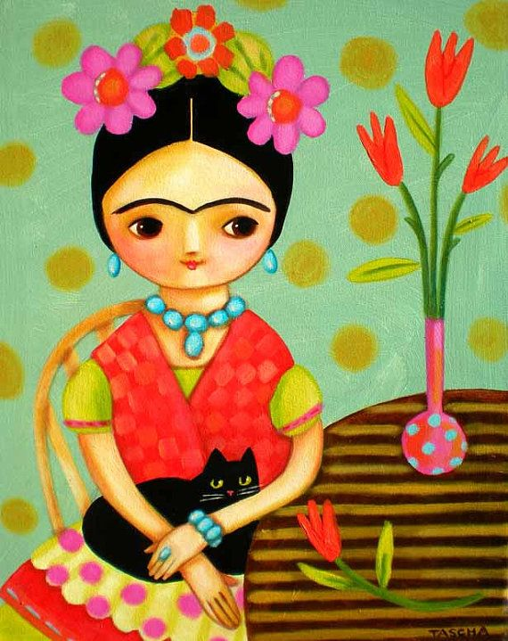 LARGE ORIGINAL Frida Kahlo and Black Cat 20x16 stretched by tascha