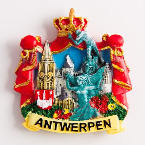 Resin Fridge Magnet: Belgium. Antwerp Attractions Collage