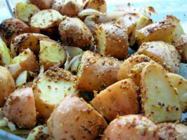 Mustard-Crusted Roast New Potatoes With Shallots and Garlic - VERY WELL RECEIVED IN OUR HOME!!! YUM!