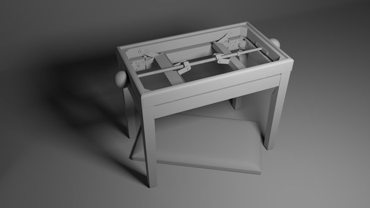 Piano bench. Modeled in Maya, rendered in Arnold