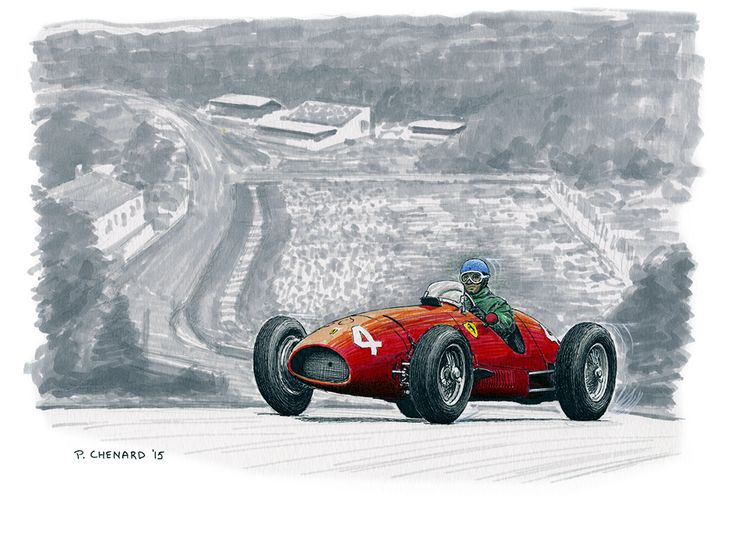 """Alberto Ascari - Ferrari 500 - Belgian Grand Prix 1952 I started this sketch at a cricket match and finished it overnight at the Edinburgh Airport.  Pen&ink, markers, Jack Daniels Honey Whiskey (cricket) and lots of coffee (airport) on 12""""x 9"""" watercolour paper.  © Paul Chenard 2015   Original art SOLD; limited editions available."""
