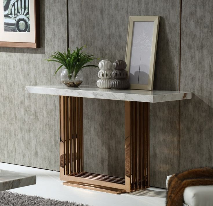 Fabrizio White Top Marble Console Table | Rose Gold Console Table