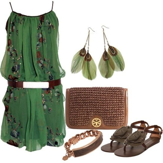 green dress brown combination of clothes moda style fashion accessories http://www.womans-heaven.com/green-dress-with-brown-accessories-combination-of-clothes/