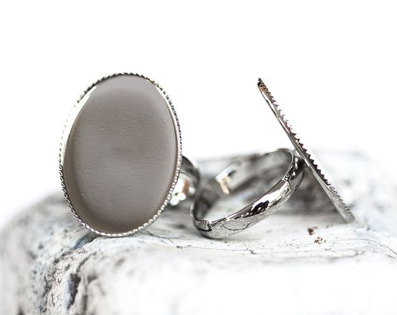 1728_Vintage oval base for ring, Adjustable size, Silver oval ring, Cabochon silver blank, Ring oval cabochon, Metal oval base,18x25mm_5 pcs