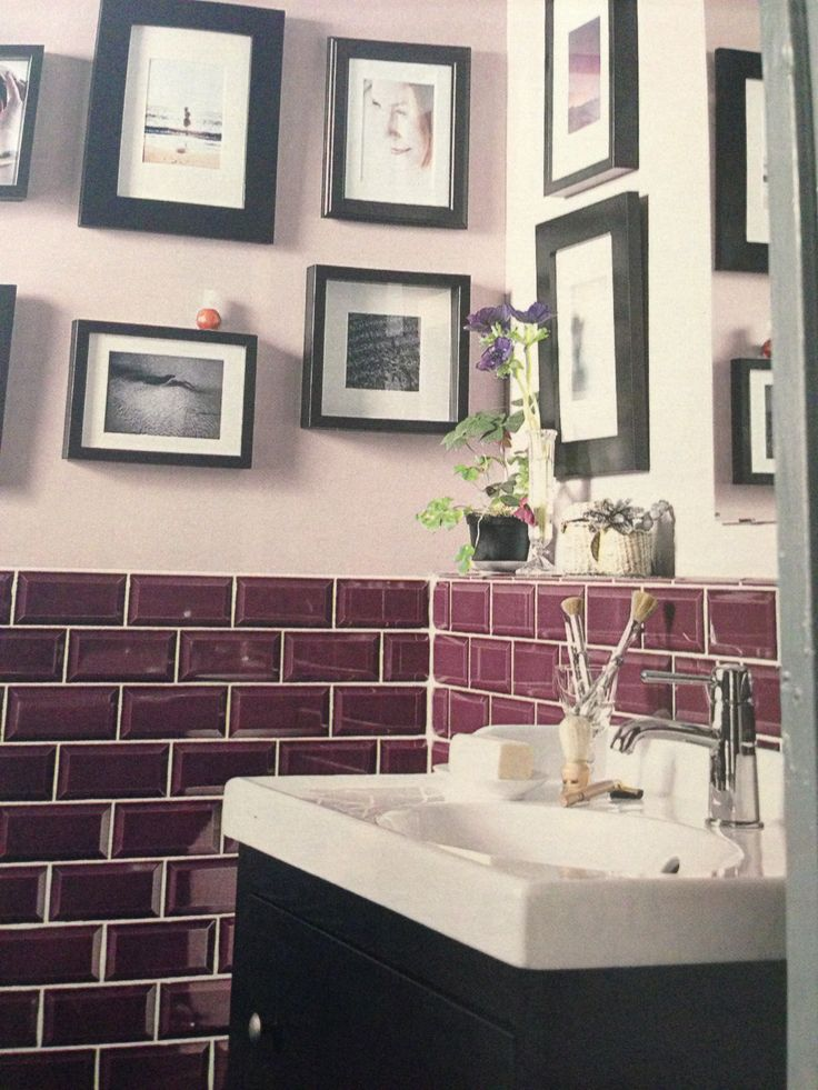 112 best red pink purple kitchens baths images on for Purple bathroom tiles ideas