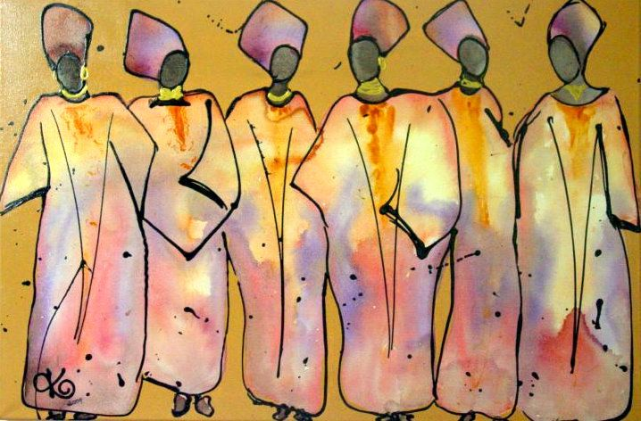 """COME ON LADIES *SOLD* Acrylic and Ink on canvas 91cmx61cm (36""""x24"""")"""
