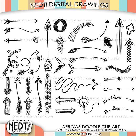 35 Hand Drawn Arrows Clip Art Whimsical Arrow Doodle by Nedti