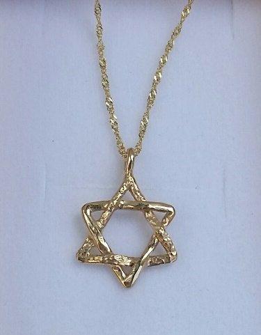 Star Of David Gold Pendant 14K Yellow Gold Pendant by TalyaDesign