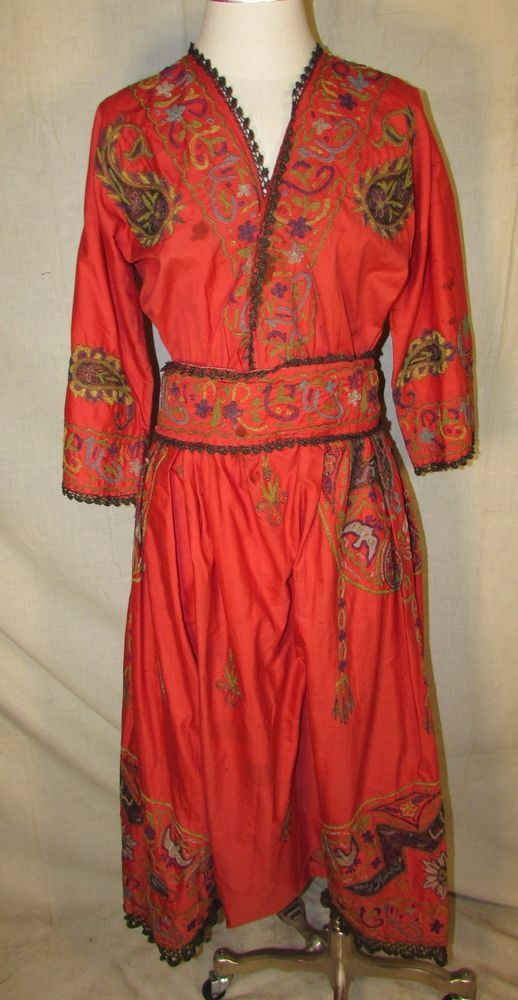 TWO PIECE EMBROIDERED ETHNIC OUTFIT WITH METALLICS, HAREM PANTS