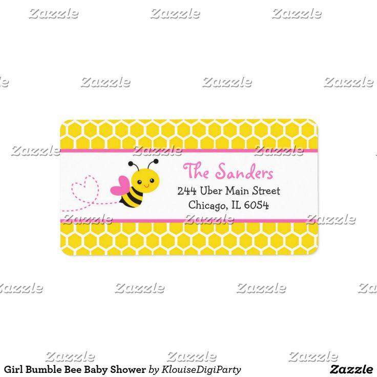 Girl Bumble Bee Baby Shower Label