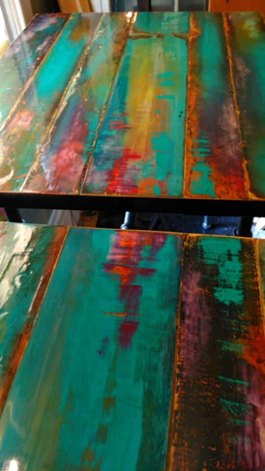 custom pub table cafe table bistro table colorful patina