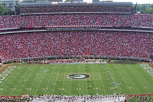 Sanford Stadium is the on-campus playing venue for football at the University of Georgia in Athens,Georgia, United States.