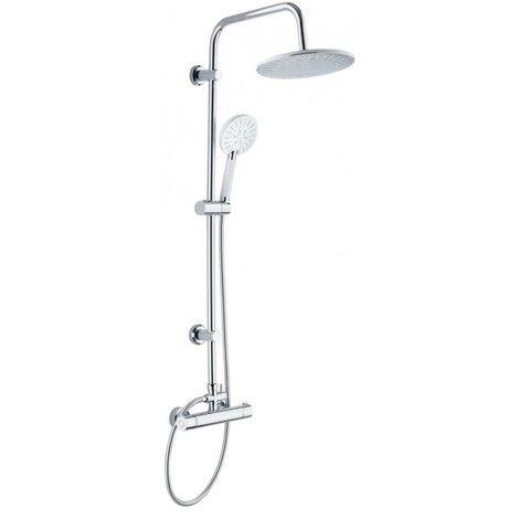 Grifo ducha termostático flexo barra + duchón redondo extensible DP Griferia #griferiabano