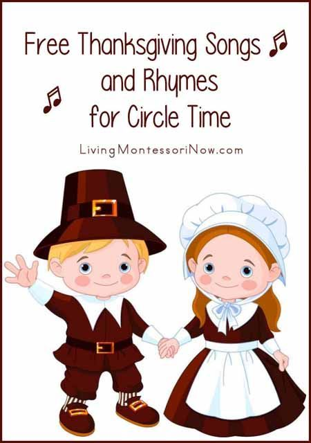 Free Thanksgiving songs for preschoolers through early elementary on YouTube along with links to posts with free printable Thanksgiving song lyrics and fingerplays.
