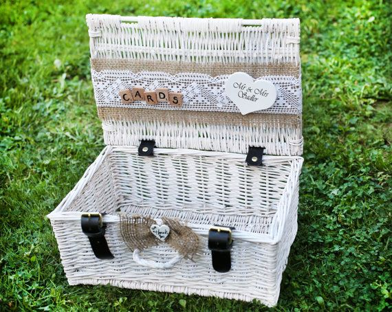 Shabby Chic and Rustic Wooden Card Box White by handmadeBYmamas