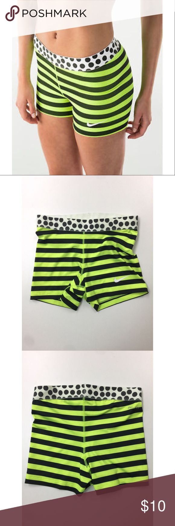 Nike Dri-Fit stripes women's training shorts New without a tag. I got it for a gift but it's not my style. Color: Bright Yellow/Green, Size: Medium Nike Shorts