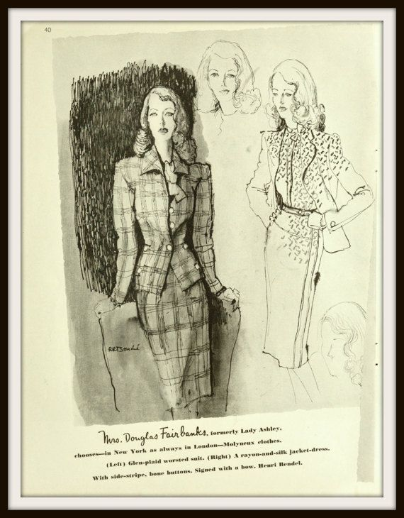 Mrs Douglas Fairbanks formally Lady Ashley chooses Molyneux clothes. Mrs Vincent Paravicini daughter of Mrs Syrie Maugham chooses Molyneaux designs. 1943 Pair of Molyneux Designs Advertisement. Featuring Mrs Douglas Fairbanks & Mrs Vincent Paravicini. Vintage Fashion ad. Vintage Vogue