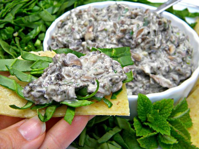 Persian Mushroom Salad (Raw Food Recipe). This is easy and delicious! The vegan sour cream is also great (there's extra after you make the mushroom salad-- would be good for veggie tacos).