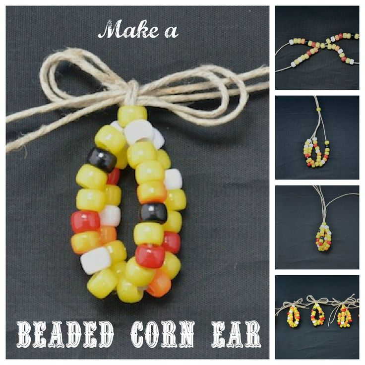 * Make a beaded corn ear for Fall/Thanksgiving. Uses about 30 pony beads & some raffia.