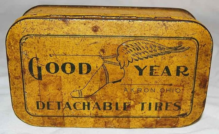 Vintage GOODYEAR Detachable Tires advertising graphic tin can