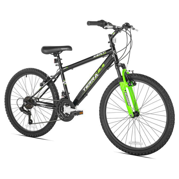 Kent Terra 2.4 - 24 Boys' Mountain Bike 21 Speed - Black/Green, Blue
