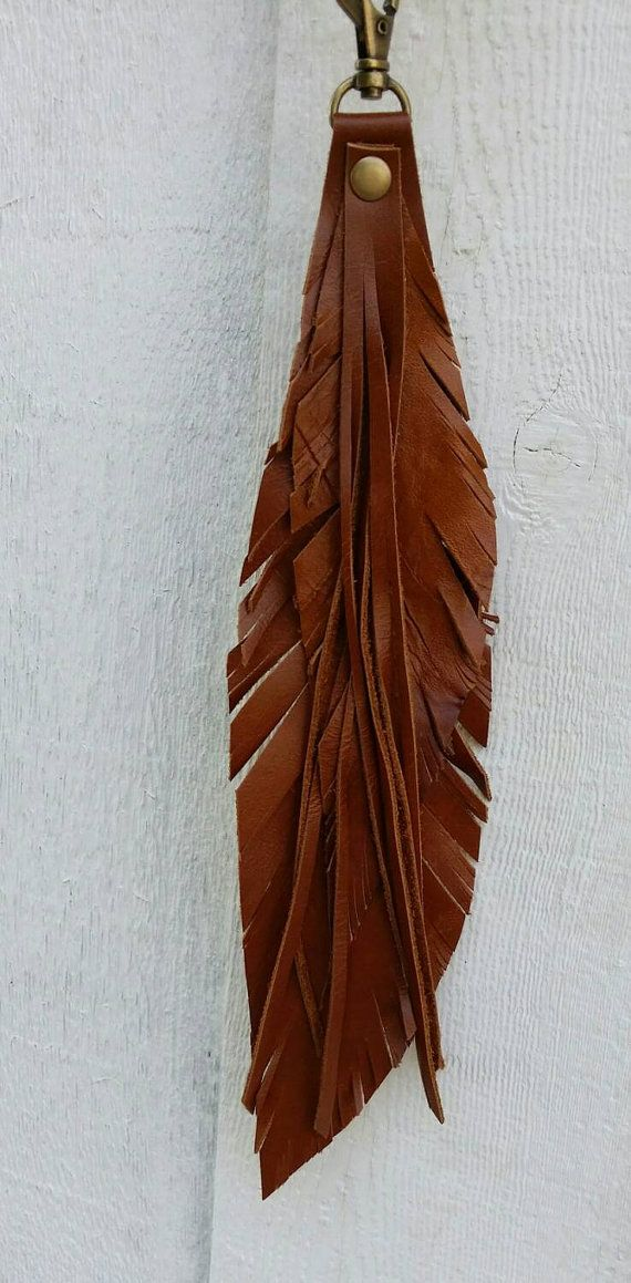 Fringe Leather Keyfob / Leather Key Fob/ by RusticMoonLeather. $10. I'd make as bag charm.