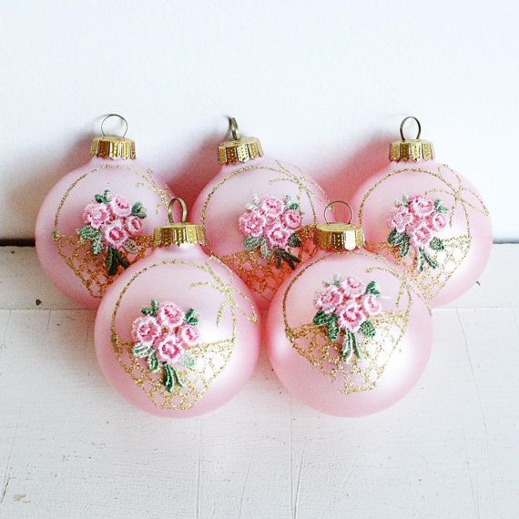 5 Vintage Pink Christmas Bulbs - Handcrafted in Bavaria West Germany for Montgomery Ward - Original Box - New Old Stock - Flower basket