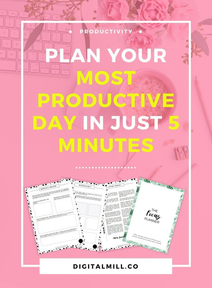 Plan your most productive day in just 5 minutes by prioritizing the most essential tasks and projects that actually align with your goals and your business. #productivity #goalsetting #goals #onlinebusiness #girlboss