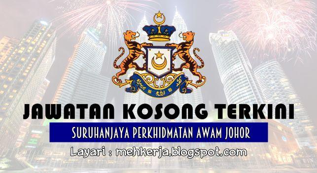 Jawatan Kosong di Suruhanjaya Perkhidmatan Awam Johor - 22 Aug 2016   Suruhanjaya Perkhidmatan Awam Johor di dalam mesyuarat Bil. 4/2015 bertarikh 28 Mei 2015 telah  meluluskan kaedah pengiklanan Permohonan Terbuka Sepanjang Masa bagi dua (2) jawatan berikut :  Jawatan Kosong Terkini 2016diSuruhanjaya Perkhidmatan Awam Johor  Jawatan:  1. PENOLONG PEGAWAI PERTANIAN G292. PENOLONG JURUTERA AWAM JA293. PENOLONG PEGAWAI BELIA DAN SUKAN S294. PEMBANTU VETERINAR G195. PEMBANTU TADBIR (KEWANGAN)…