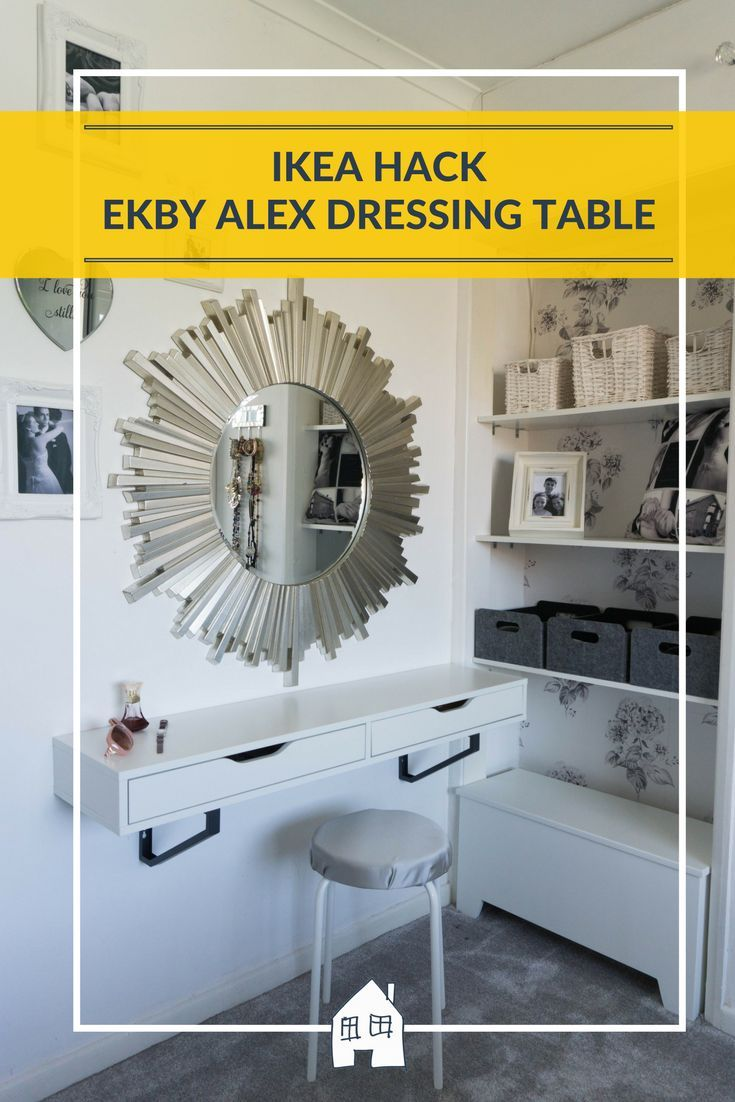 Take a look at my new dressing table area that I made in my bedroom. With a EKBY ALEX IKEA HACK and a MARIUS IKEA HACK. So easy to put together!